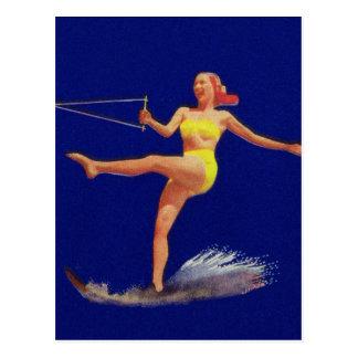 Cartão Postal Menina do esqui aquático do Pinup do vintage