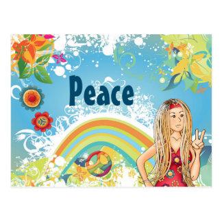 Cartão Postal Menina do Hippie, flores e paz louras do arco-íris