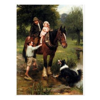 Cartão Postal menina do menino do cavalo do cão do collie das