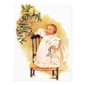 Cartão Postal Menina do Natal de Maud Humphrey pouca