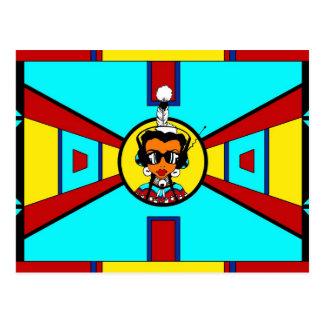 Cartão Postal Menina do Powwow - design do Beadwork