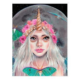 Cartão Postal Menina do unicórnio e suas traças de Luna, arte
