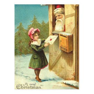Cartão Postal Menina do Victorian que envia sua letra ao papai