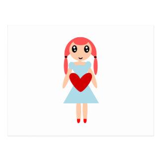 Cartão Postal Menina dos desenhos animados com coração