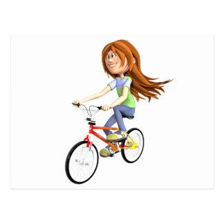 Cartão Postal Menina dos desenhos animados que monta uma