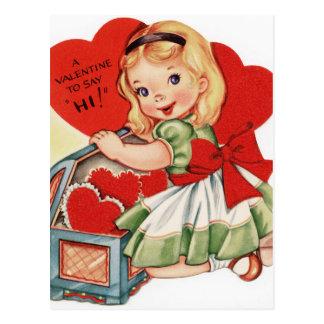 Cartão Postal Menina dos namorados do vintage