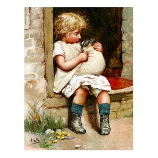 Cartão Postal Menina e filhote de cachorro doente