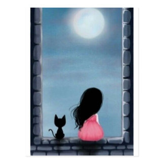 Cartão Postal Menina e gato na janela - girl and cat on the wind