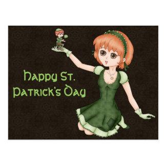 Cartão Postal Menina e Leprechaun Redheaded do Anime