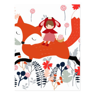 Cartão Postal Menina e raposa vermelhas da equitação da capa no