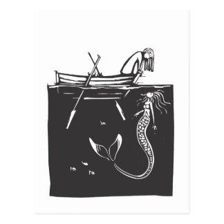 Cartão Postal Menina e sereia