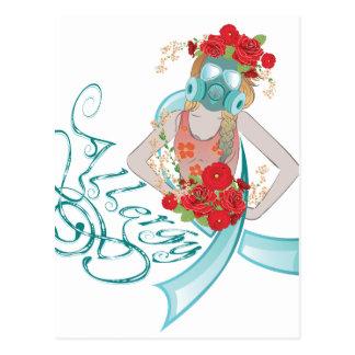 Cartão Postal Menina em Gasmask Allergy2