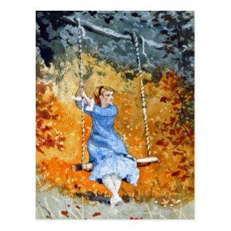 Cartão Postal Menina em um balanço por Winslow Homer