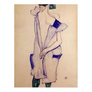 Cartão Postal Menina ereta de Egon Schiele- em um azul e verde
