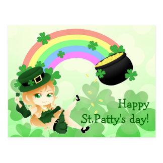 Cartão Postal Menina irlandesa bonito do leprechaun do chibi com