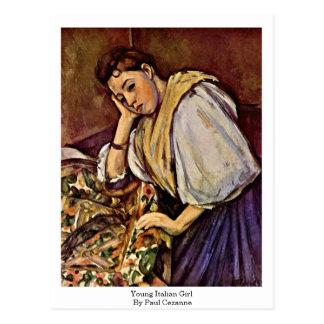 Cartão Postal Menina italiana nova por Paul Cezanne