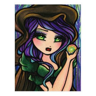 Cartão Postal Menina mágica da arte da fantasia da floresta da