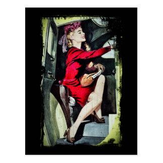 Cartão Postal Menina moderna nos nylons