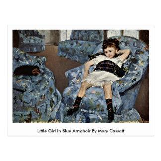 Cartão Postal Menina na poltrona azul por Mary Cassatt