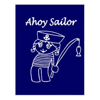 Cartão Postal Menina náutica do marinheiro