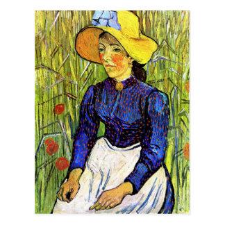 Cartão Postal Menina nova do camponês por Vincent van Gogh 1890