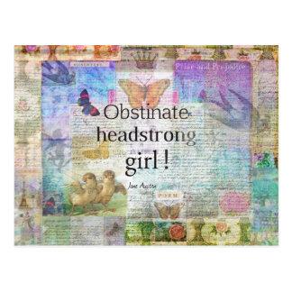 Cartão Postal Menina obstinado, obstinado! Citações de Jane