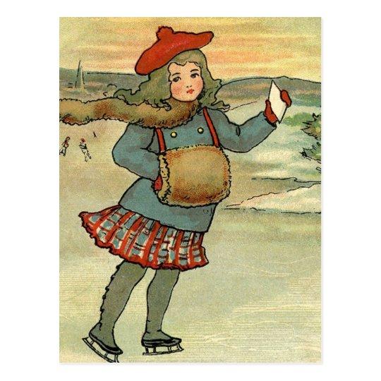 Cartão Postal Menina Patinando