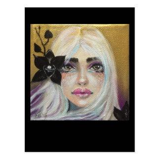 Cartão Postal Menina preta da orquídea, arte original