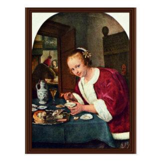 Cartão Postal Menina que come ostras., Oestereetstertje daqui