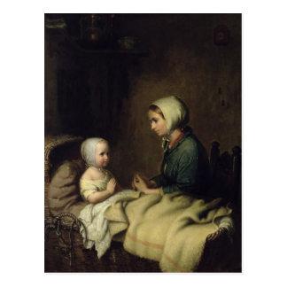 Cartão Postal Menina que diz suas orações na cama