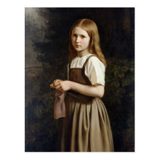 Cartão Postal Menina que faz malha, 1854