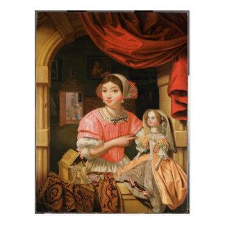 Cartão Postal Menina que guardara uma boneca em um interior