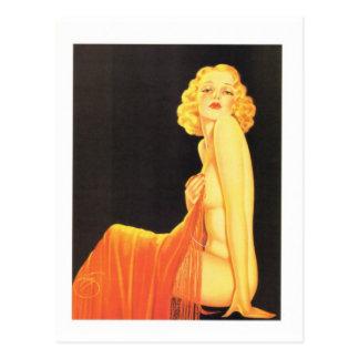 Cartão Postal Menina retro do Pinup de Billy DeVorss do vintage