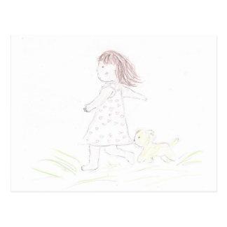 Cartão Postal Menina Running 1