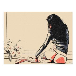 """Cartão Postal Menina """"sexy"""" com flores, levantamento quente do"""