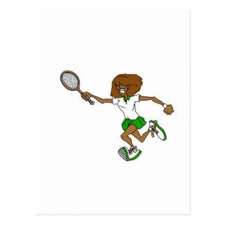 Cartão Postal Menina verde do tênis