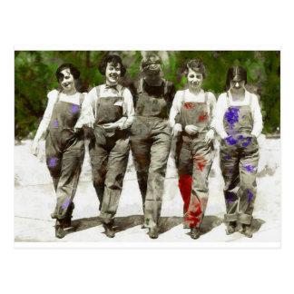 Cartão Postal Meninas do vintage - divertimento, arte feminista