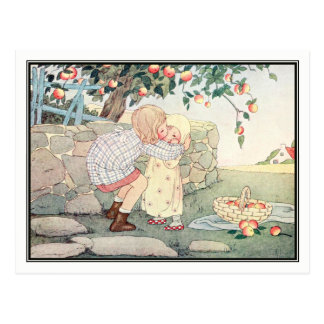 Cartão Postal Meninas do vintage no pomar por H. Willebeek Le