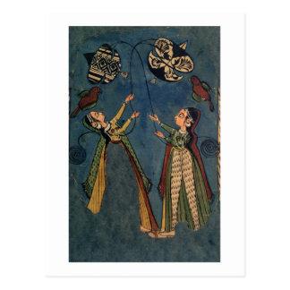 Cartão Postal Meninas que voam papagaios, pintura popular de