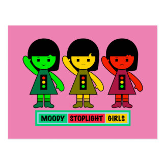 Cartão Postal Meninas temperamentais do sinal de trânsito com