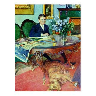 Cartão Postal Menino com o cão sob a mesa
