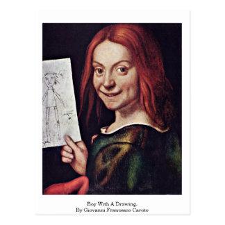 Cartão Postal Menino com um desenho. Por Giovanni Francesco