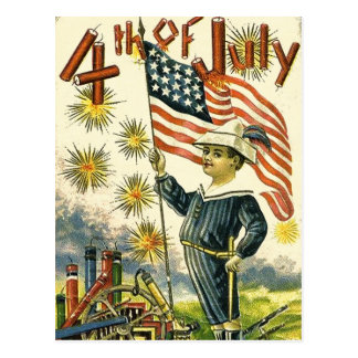 Cartão Postal Menino da bandeira 4o julho