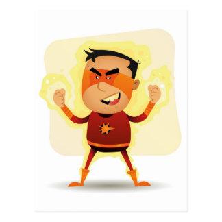 Cartão Postal Menino da energia - superpotência do super-herói