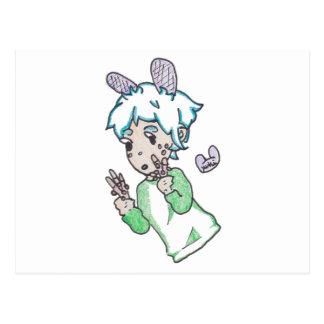 Cartão Postal Menino de Chibi com um punhado de varas pocky