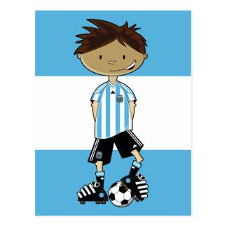 Cartão Postal Menino do futebol do campeonato do mundo de