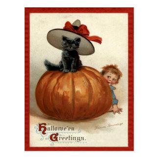 Cartão Postal Menino Frances Brundage do gato preto da abóbora