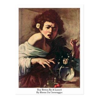 Cartão Postal Menino mordido por um lagarto por Merisi a