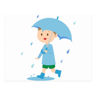 Cartão Postal Menino na chuva