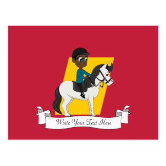Cartão Postal Menino que monta uns desenhos animados do cavalo